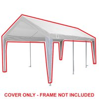 King Canopy 10 ft x 20 ft White/White Fitted Carport Canopy Cover w/ Leg Skirts