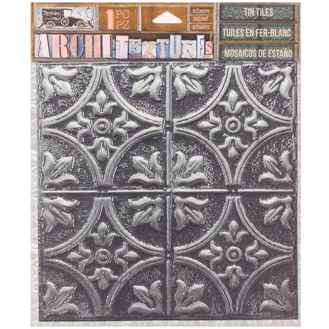 5.75 x 5.75 in. 7 Gypsies Architextures Adhesive Tin Tiles, Tarnished Silver