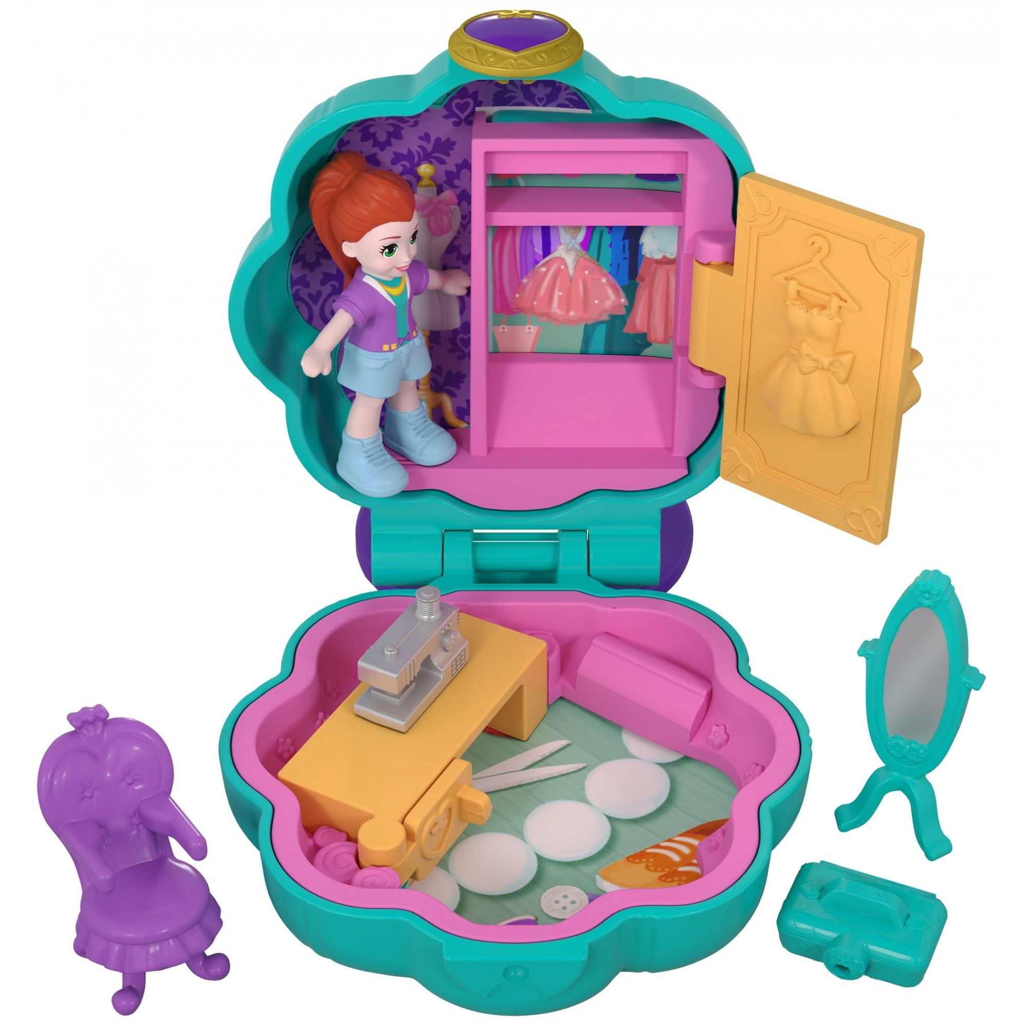 Polly Pocket Tiny Pocket Places Fiercely Fab Studio Compact with Micro Model Lila Doll