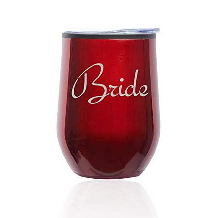 Stemless Wine Tumbler Coffee Travel Mug Glass with Lid Bride Bachelorette Wedding (Red) - Bachelorette Tumblers