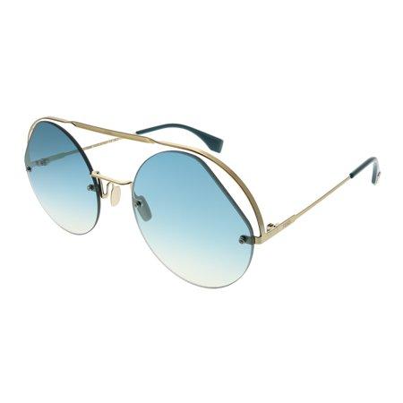 Fendi Women's Cut Out Round Aviator Sunglasses Vermeil Cut Out
