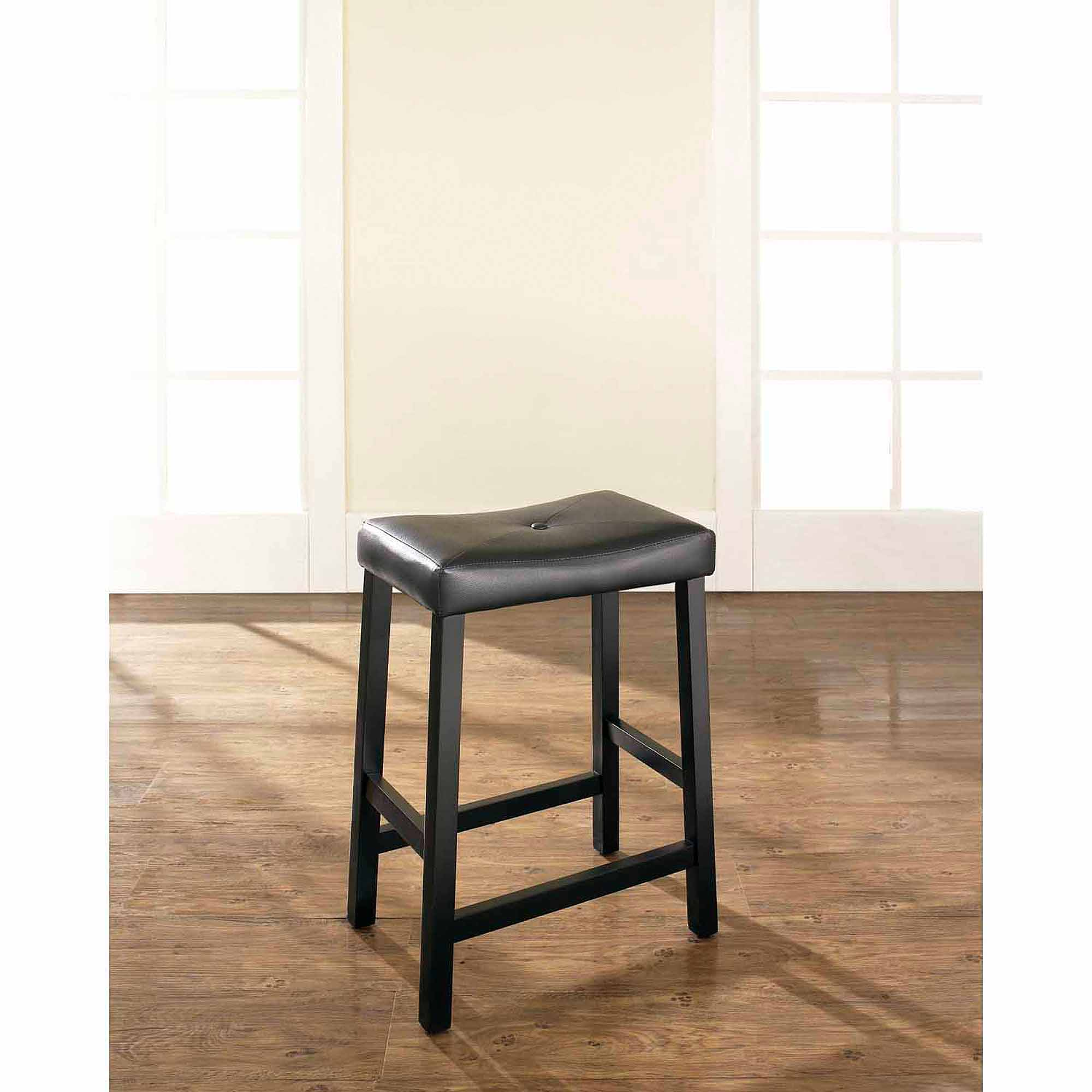 """Crosley Furniture Upholstered Saddle Seat Bar Stool with 24"""" Seat Height, 2pk"""