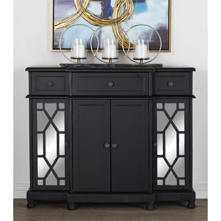 """Decmode - 42"""" x 35"""" Black Wood & Mirrored Cabinet with Storage & Crystal Rosette Handles ()"""