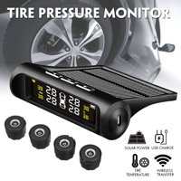 Car Wireless TPMS Tire Tyre Pressure Monitor System Solar Power+4 External Senor
