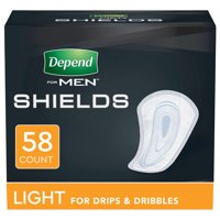 Depend Incontinence Shields, Pads for Men, Light Absorbency, 58 Count