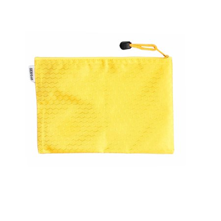 Unique Bargains Yellow Zip up Nylon Hex Pattern A4 Paper Files Bag Holder
