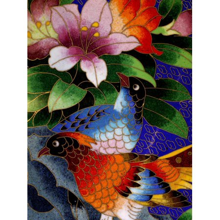 Cloisonne Peacock (Bird Cloisonne Plate, Hand Made with Tiny Copper Wires and Powered Enamel, China Print Wall Art By Cindy Miller Hopkins)