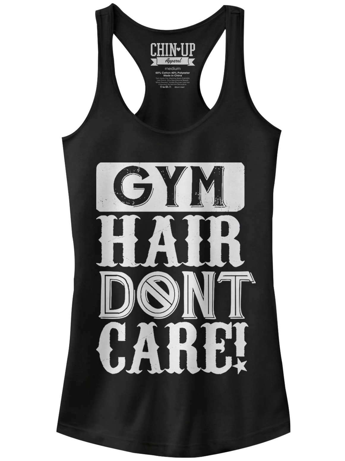 Chin Up Juniors' Gym Hair Don't Care Racerback Tank Top