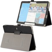 """DigitalsOnDemand ® Slim Executive Black Leather Cover Case Stand for Samsung Galaxy Tab Pro 12.2 & Note Pro 12.2"""" - Credit Card Holders, Wallet Pouch and Elastic Hand Held Interior Holding Strap"""