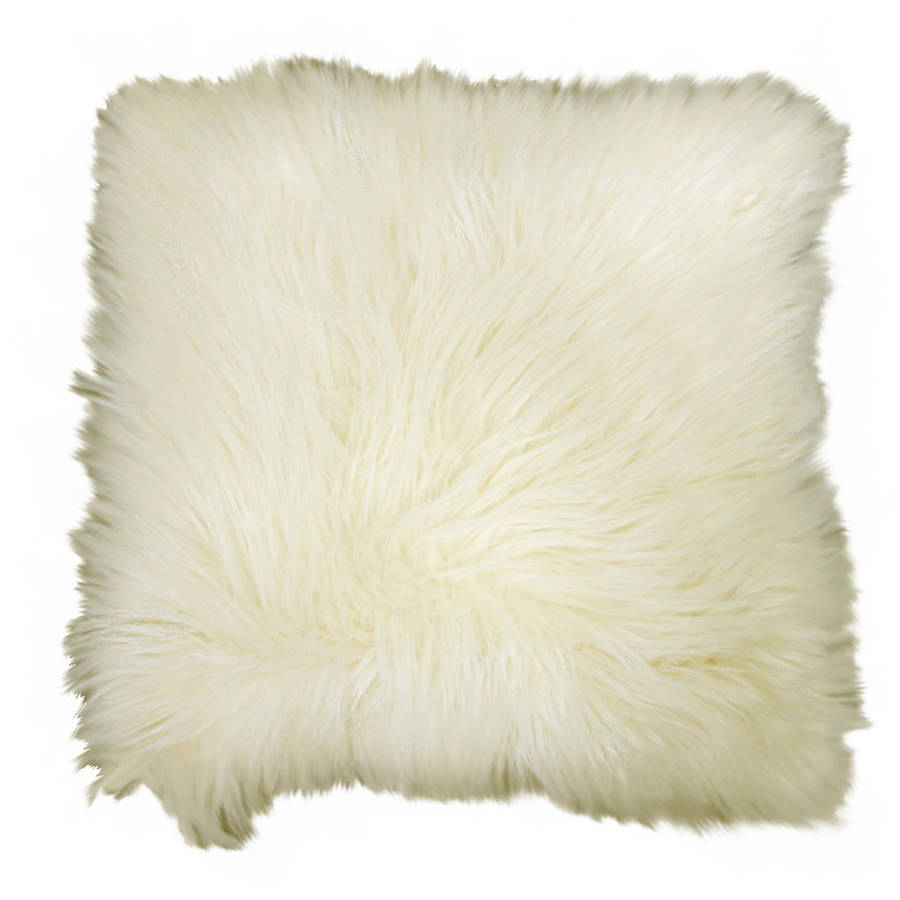 """Better Homes and Gardens Arctic Faux Fur Decorative Throw Pillow 16""""x16"""", Ivory"""