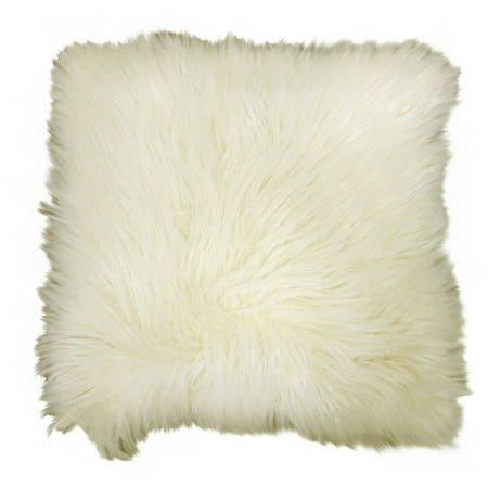 "Better Homes & Gardens Arctic Faux Fur Decorative Throw Pillow 16""x16"", Ivory"