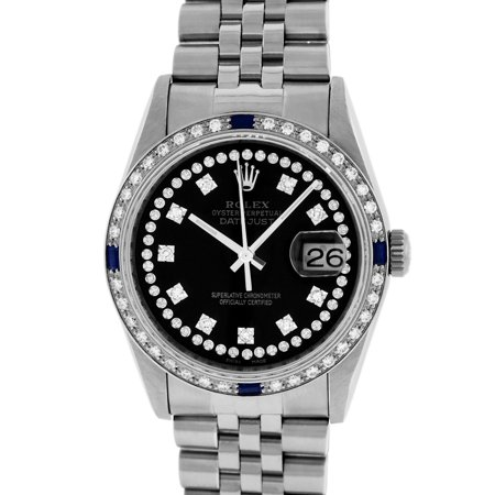 Pre-Owned Rolex Mens Datejust Steel & 18K White Gold Black String Diamond & Sapphire Watch Jubilee