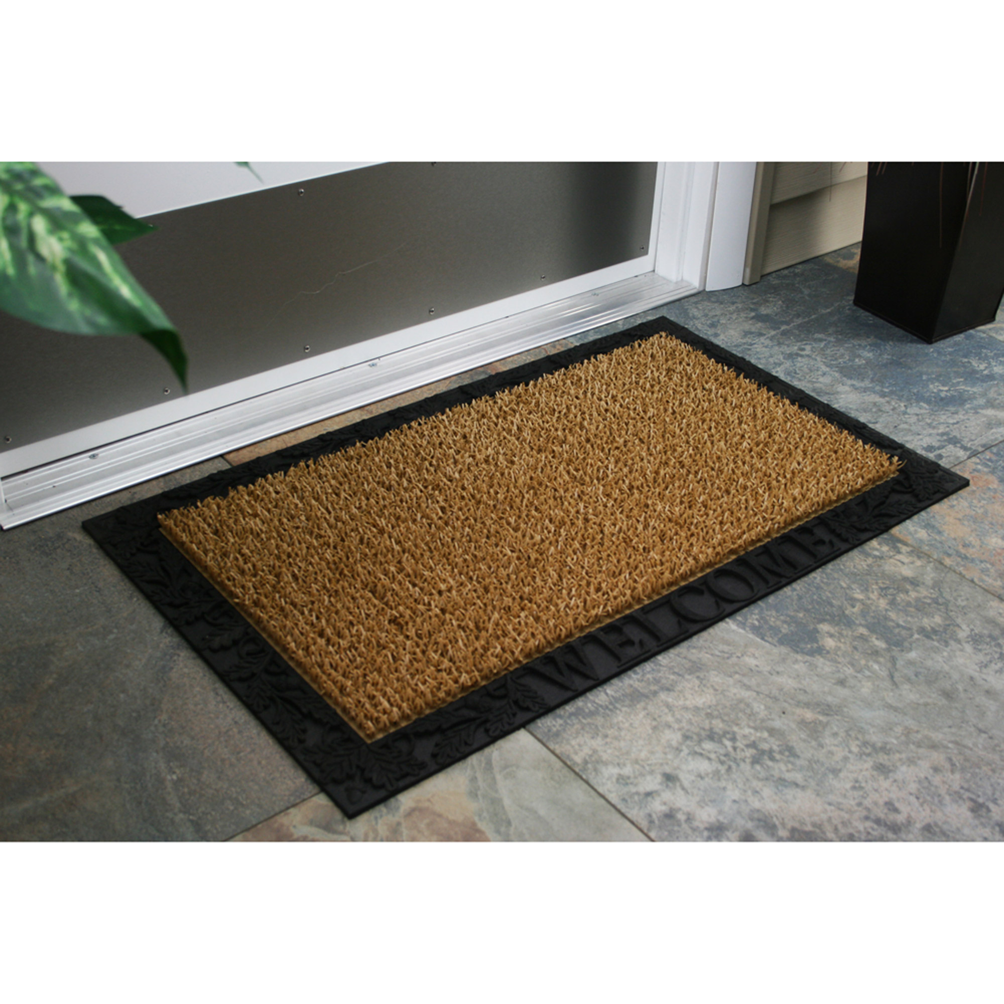"AstroTurf Scraper Door Mat, Acorn and Oak Leaf Welcome with Rubber Border, 18"" x 30"", Cocoa"