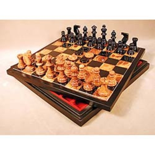 Black Alabaster Chess & Checkers Set