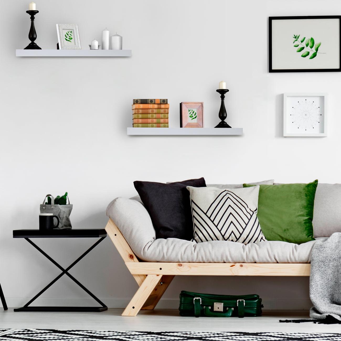 Rectangle Shelf Set - Blue Sorbus Floating Shelf /— Hanging Wall Shelves Decoration /— Perfect Trophy Display Photo Frames /— Extra Long 24 Inch