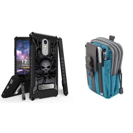 BC Military Grade Shockproof [MIL-STD 810G-516.6] Kickstand Case (Skull Wings) with Teal Blue Tactical EDC MOLLE Utility Waist Pack Holder Pouch, Atom Cloth for LG Stylo 4+ Plus/LG Stylo 4