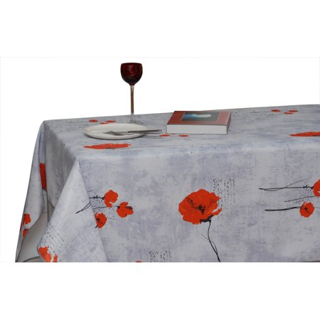 Tablecloth light grey red poppy flowers stain resistant for 120 inch table seats how many