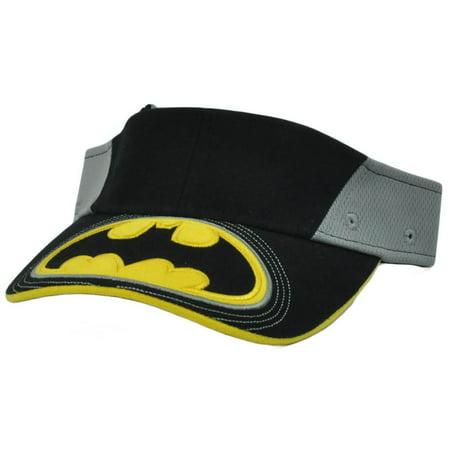 Youth Visor Batman Logo Dc Comics Black Yellow Grey Kids  Adjustable](Kids Visors)