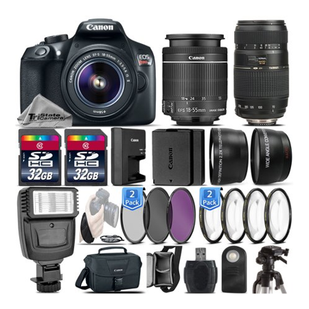 Canon EOS Rebel T6 DSLR Camera + 18-55mm IS II Lens + Tamron 70-300mm Di LD Macro Lens + Flash + 0.43X Wide Angle Lens + 2.2x Telephoto Lens + 64GB Storage - International Version (No