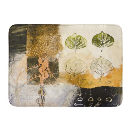 GODPOK Nature Abstract Mixed Media Acrylic Painting with Leaves Collage Drawing Rug Doormat Bath Mat 23.6x15.7 inch
