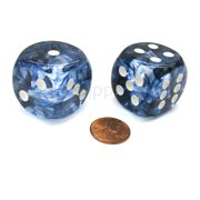 Chessex Nebula 30mm Large D6 Dice, 2 Pieces - Black with White Pips #DN3008