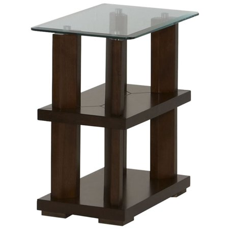 Progressive Delfino Glass Top Chairside Table in Burnished Cherry