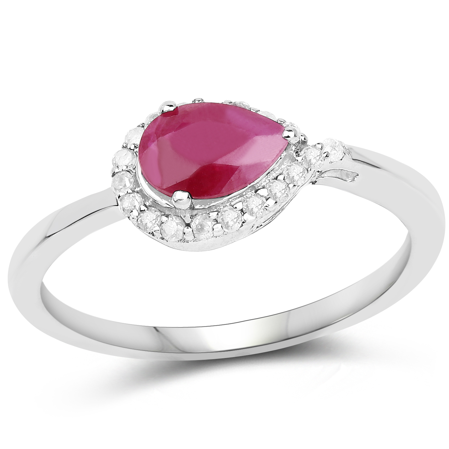 Genuine Pears Ruby and Diamond Ring in 10k White Gold - Size 7.00