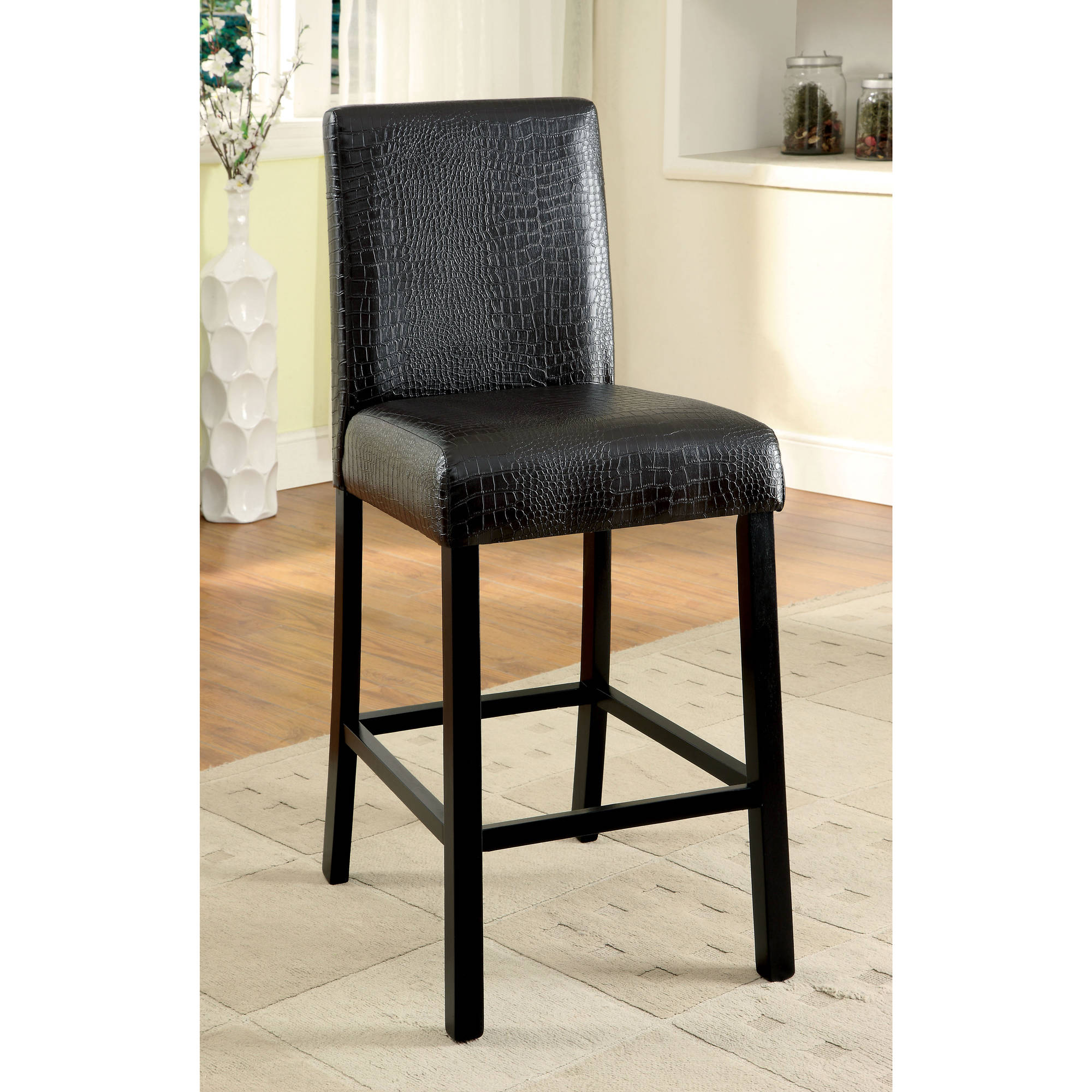 Furniture Of America Malcon Contemporary Counter Height Dining Chair (Set  Of 2), Black