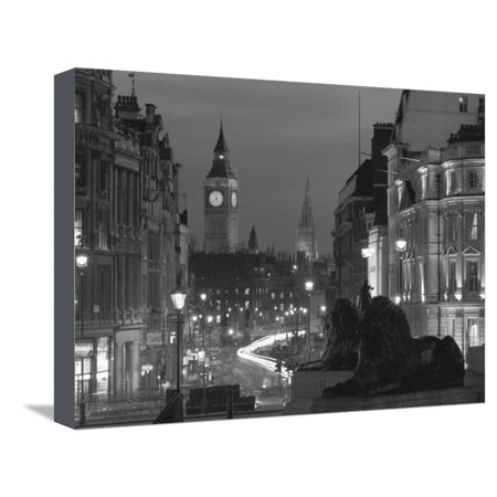 Evening View from Trafalgar Square Down Whitehall with Big Ben in the Background, London, England European Cityscape Black and White Travel Photo Stretched Canvas Print Wall Art By Roy Rainford