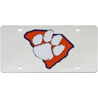Clemson Tigers Acrylic State Shape Silver Mirror License Plate - No Size
