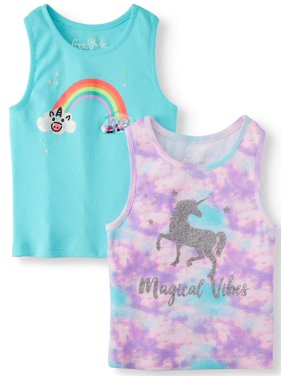 c085eaa68 Product Image Tie Shoulder and Graphic Tank Tops, 2-Pack (Little Girls &  Big Girls