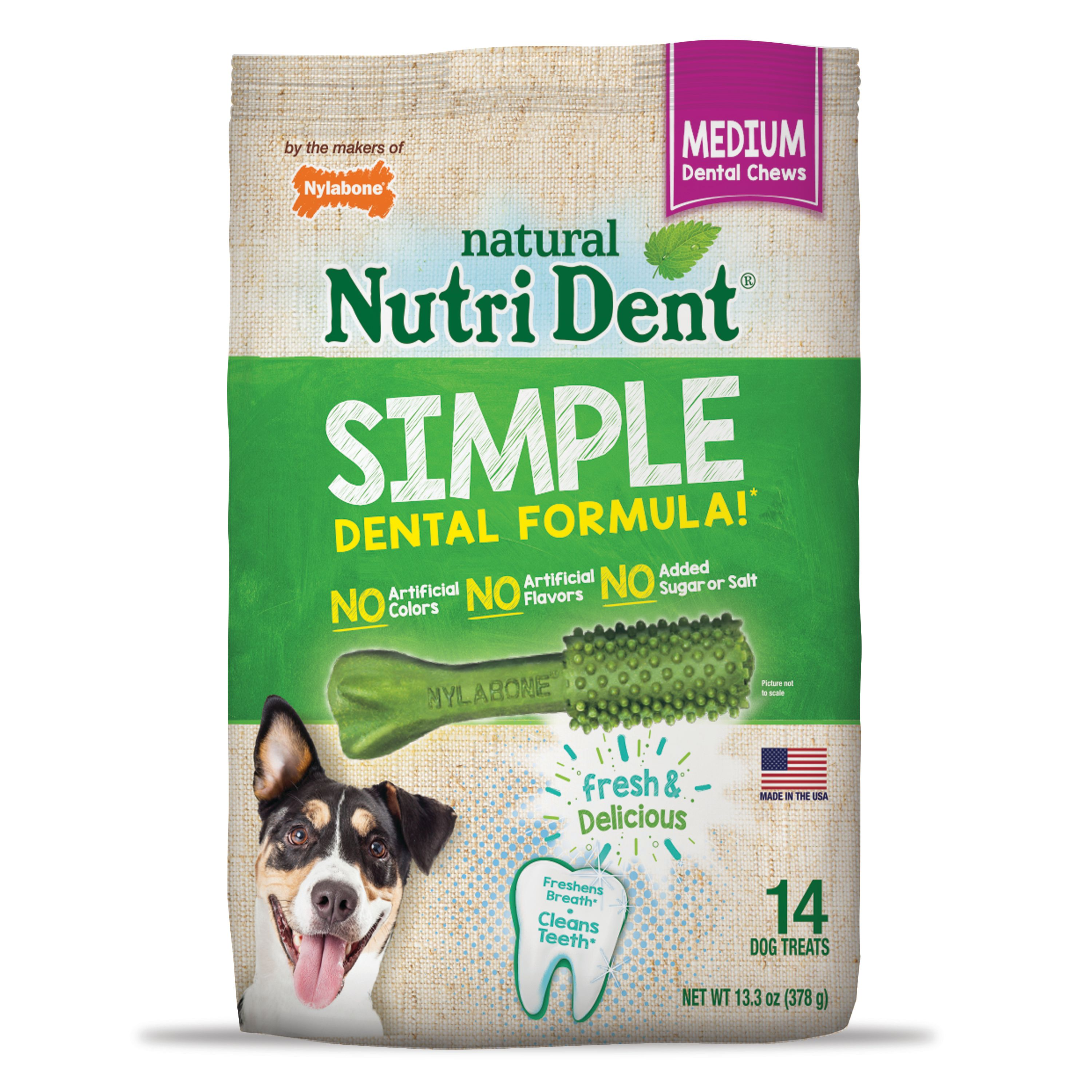 Nutri Dent Simple Dental Formula Dog Chew Treats, Medium, 14 Count