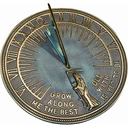 Father Time Sundial with Motto & Brass Construction