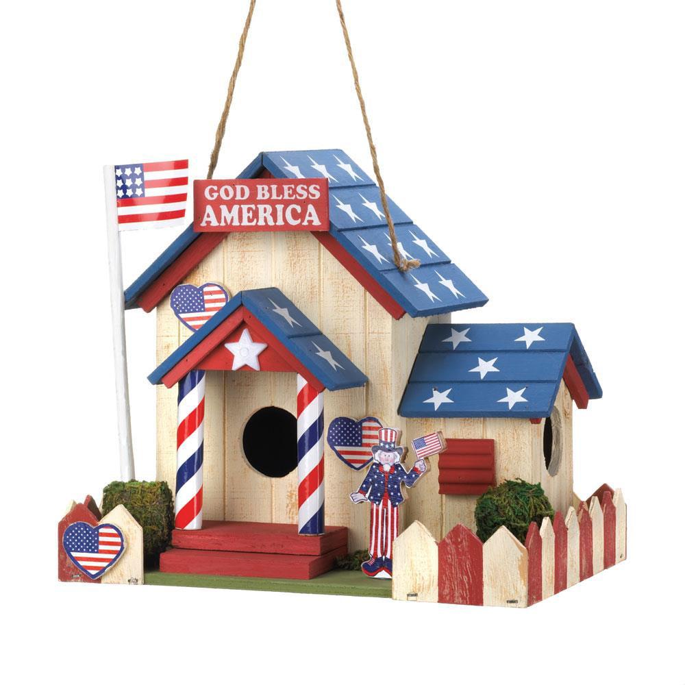Chickadee Birdhouse, Wooden Hangging Outdoor Sparrow Patriotic Birdhouse by Songbird Valley