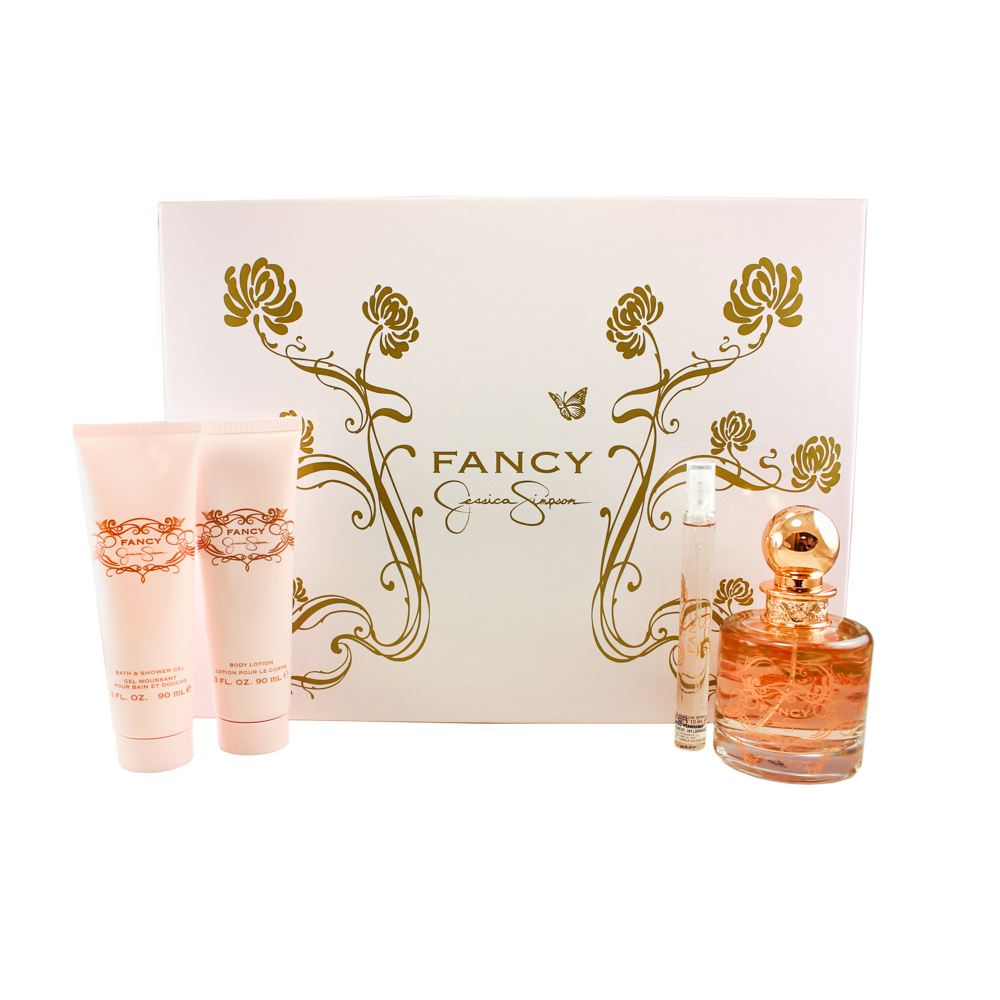 Fancy Jessica Simpson 4 Pc. Gift Set ( Eau De Parfum Spray 3.4 Oz + 0.34 Oz. + Body Lotion 3.0 Oz + Bath & Shower Gel 3.0 Oz )