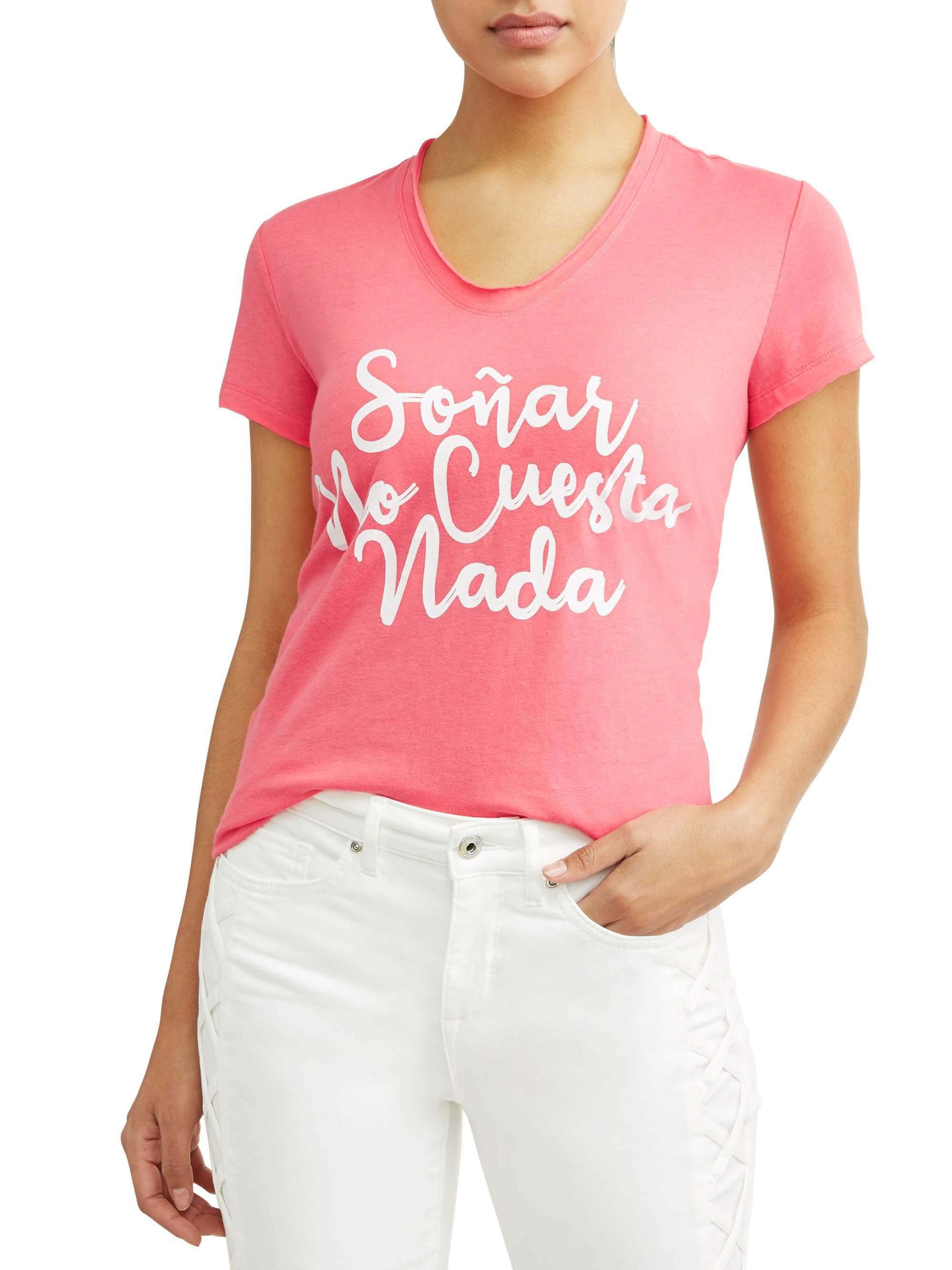 Soñar No Cuesta Nada Short Sleeve V-Neck Graphic T-Shirt Women's