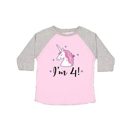 4th Birthday Girls Cute Unicorn Toddler T Shirt