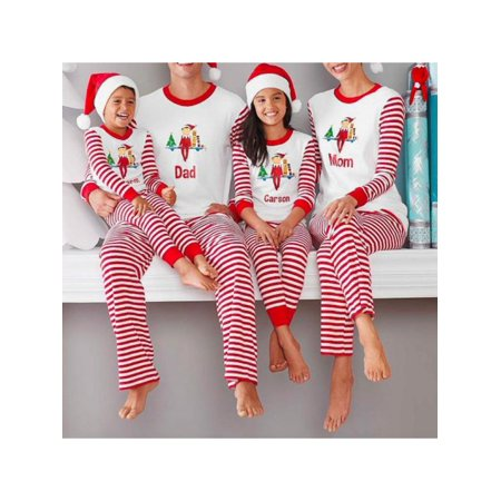 Sweetsmile Family Christmas Printing Pajamas Red White Striped Father Son Mom New Year Family Sleepwear Sets (Why Is Father Christmas Red And White)