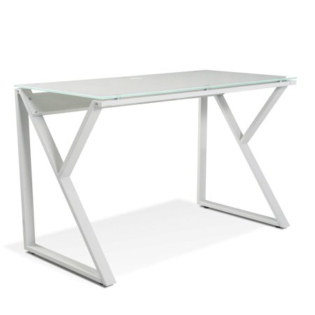 The Ergo Office 223 Tribeca Writing Desk with White Glass Top