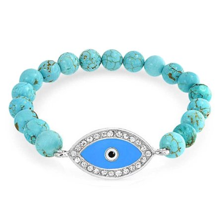 Turkish Blue Reconstituted Turquoise Evil Eye Bead Stretch Bracelet For Women Protection and Good Luck](Blue Bead Bracelet)