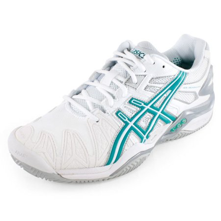 Women`s GEL-Resolution 5 Clay Court Tennis Shoes White and - Green Clay Tennis