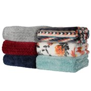 """Better Homes & Gardens Oversized Velvet Plush Throw Blanket, 50"""" x 70"""", Aqua Herringbone"""