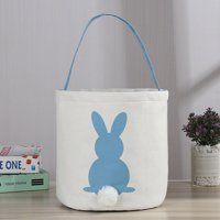 Easter Egg Basket Holiday Rabbit Bunny Printed Canvas Gift Carry Eggs Candy Bag