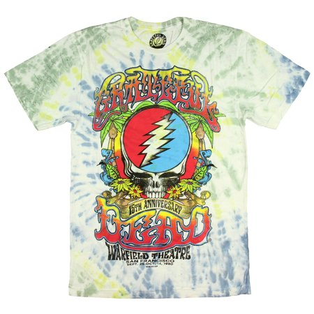 Grateful Dead Shirt 15th Anniversary 1980 Warfield Theatre San Francisco Tie-Dye Adult T-shirt - Tie Dye Shirts For Sale
