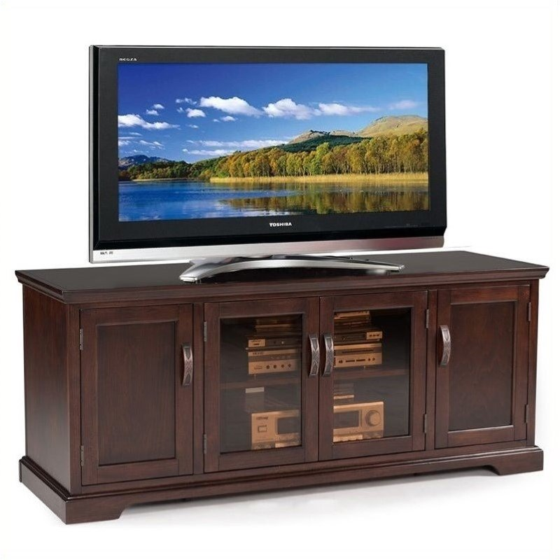 "Bowery Hill Bronze Glass 60"" TV Stand in Chocolate Cherry"
