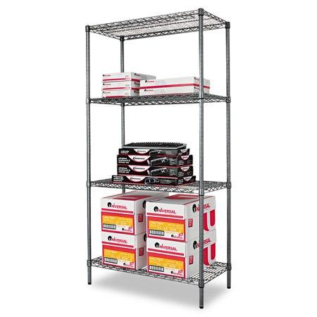 - Alera Wire Shelving Starter Kit, Four-Shelf, 36w x 18d x 72h, Black Anthracite