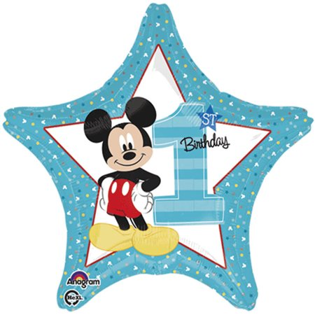 Mickey Mouse 1st Birthday Authentic Licensed Theme Blue Foil / Mylar Balloon 18