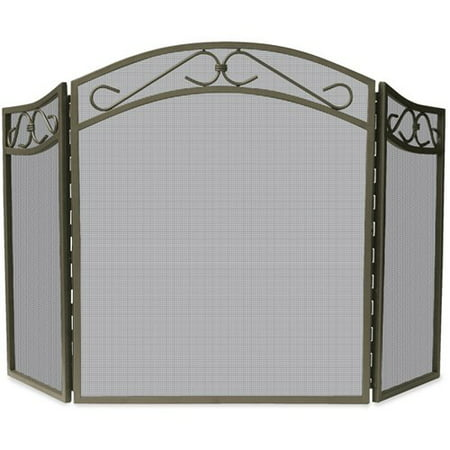 - Uniflame #S-1638 Bronze Finish 3-Fold Wrought Iron Fire Screen w/ Decorative Scroll, 31