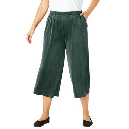 Woman Within Plus Size Velour Wide Leg Capri Pants Green Velour Pants