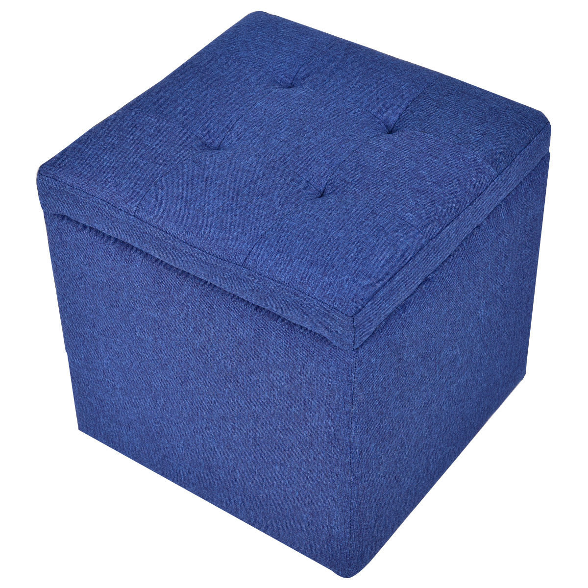 Gymax Blue Storage Ottoman Square Seat Foot Stool Living Room Chair Cube
